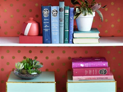 Shelf Paper Ideas by Bright Bookshelf Backing Hgtv S Decorating Design