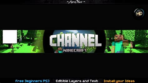 minecraft channel template minecraft free one channel psd template layout changeble