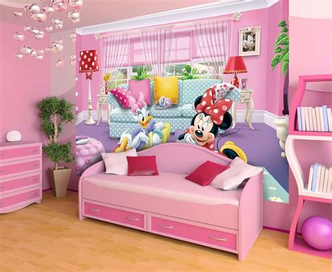 disney wallpaper for bedrooms minnie deasy disney wallpaper girl s room homewallmurals