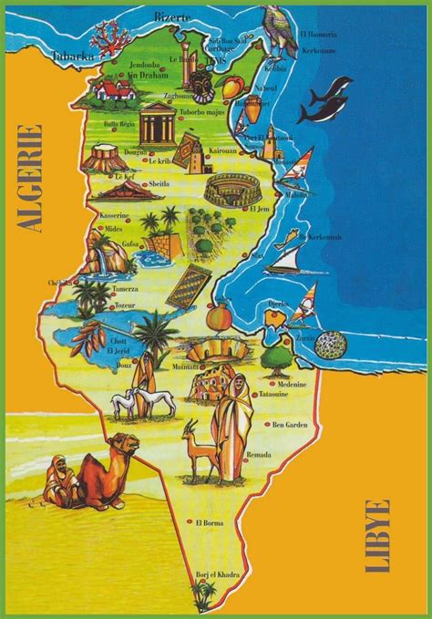 tunisia on map tunisia attractions map
