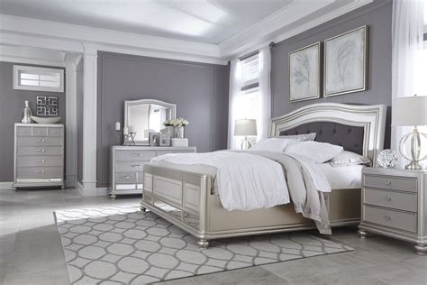 Bedroom Furniture Silver Coralayne Silver B650 4 Pc King Bedroom Set
