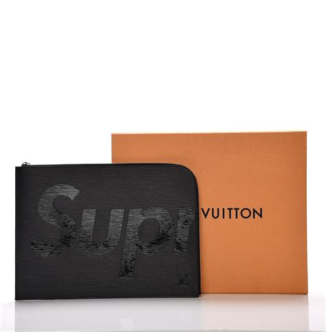 Clutch Lv Pochette Jour Gm Epi Leather Supreme Merah Semprem As002e louis vuitton x supreme epi pochette jour gm noir black 204967