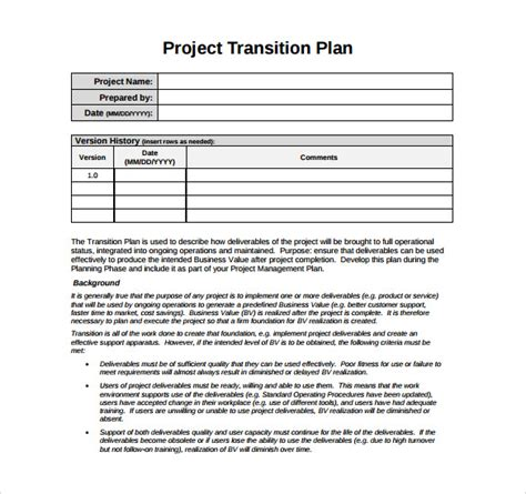 project transition plan template excel targer golden