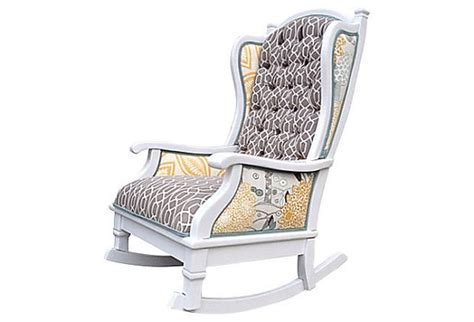 Upholstered Nursery Rocking Chair Items Similar To Upholstered Rocking Chair Nursery Baby Tufted White Yellow Grey Aqua Blue
