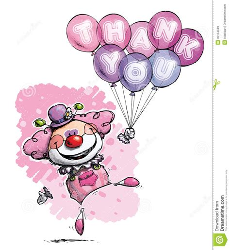 Thank You Letter Balloons clown with balloons saying thank you colors stock