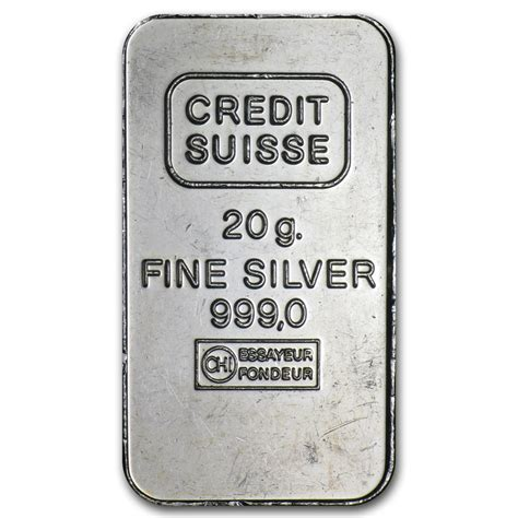 1 Oz Credit Suisse Silver Bars - 20 gram silver bar credit suisse fractional less than