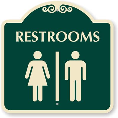 bathroom sign person 18in x18in restrooms sign with male female graphic sku