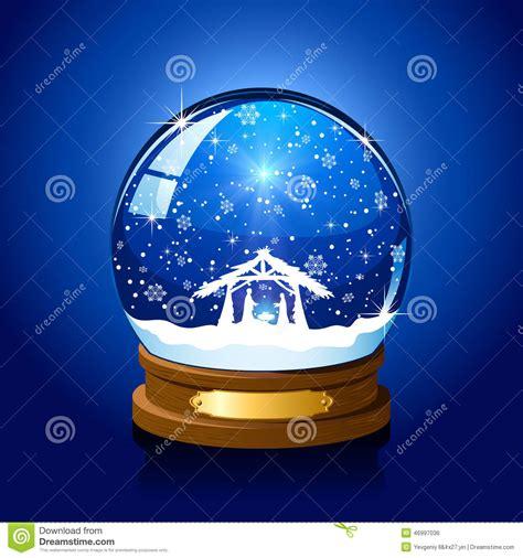 christmas snow globe  christian scene stock vector image