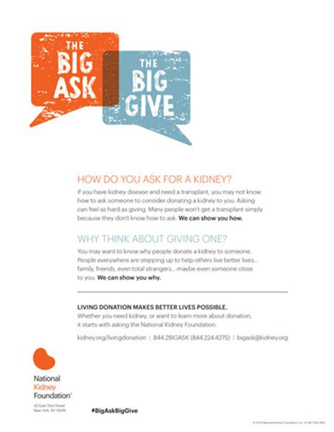 Kidney Donation Letter The Big Ask The Big Give The National Kidney Foundation
