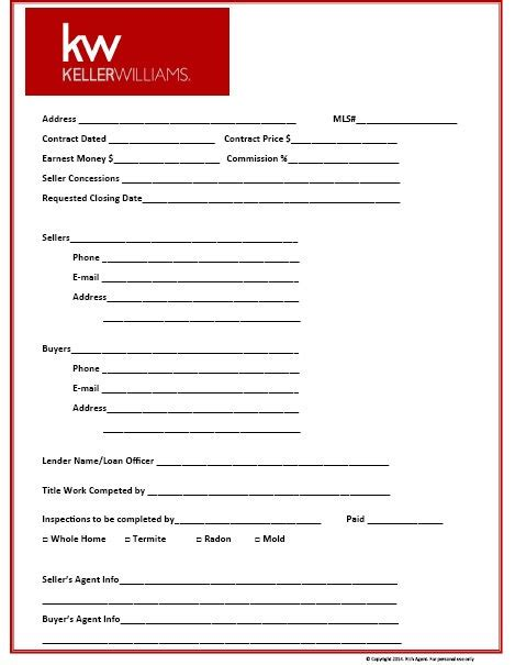 Keller Williams Themed Transaction Management Form Ikea Decora Keller Williams Open House Sign In Sheet Template