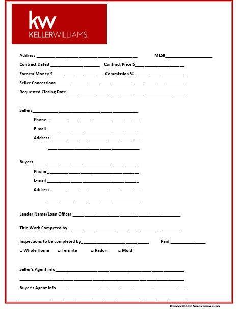 Keller Williams Themed Transaction Management Form Ikea Decora Seller S Net Sheet Template