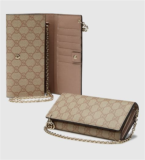 Wallet Gucci Set 2 Canvas 5521 gucci gg supreme canvas chain wallet in lyst