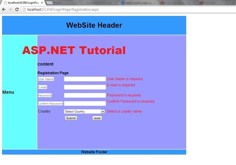 asp net menu templates asp net tutorial 8 create a login website creating master
