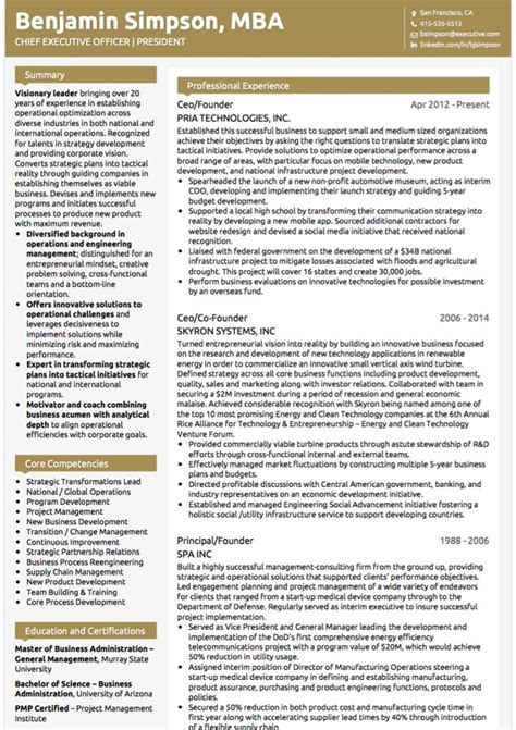 executive cv exles and template