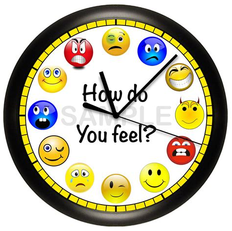 Watches Silly Yellow emoji smiley wall clock humor blue