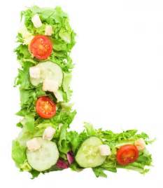 healthy letter l with vegetables photo free