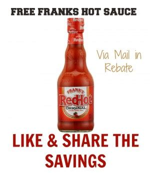 Franks Red Hot Sweepstakes - free franks red hot sauces via mail in rebate canadian freebies coupons