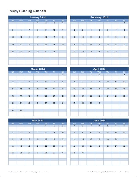 annual calendar template excel planning calendar template yearly