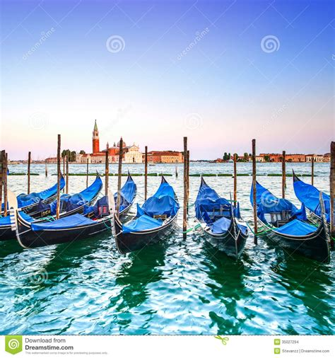 blue guide venice blue venice sunset gondolas or gondole and church on background italy stock photo image 35027294