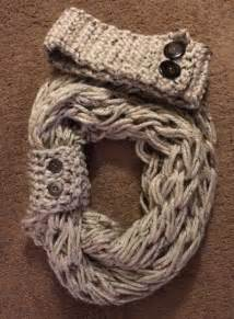 arm knit infinity scarf with matching button cuff and