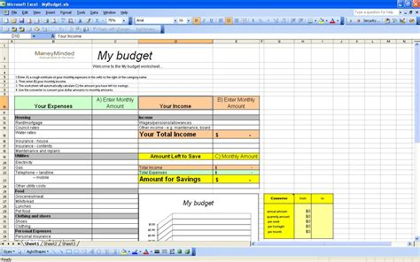 excel home budget template best photos of personal budget template excel 2010