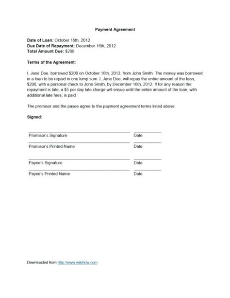 Contract For Repayment Of Money Evrika Payback Agreement Template
