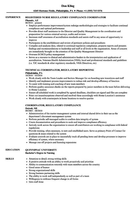 regulatory resume sle cv templates coordinator regulatory resume sles velvet