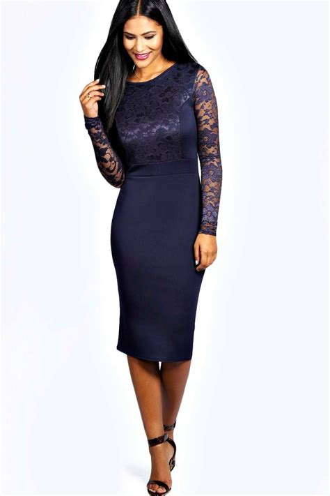 Sleeved Midi Dress lace sleeve bodycon midi dress at boohoo