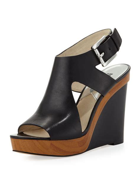 mk wedge sandals michael kors michael josephine leather wedge sandal in