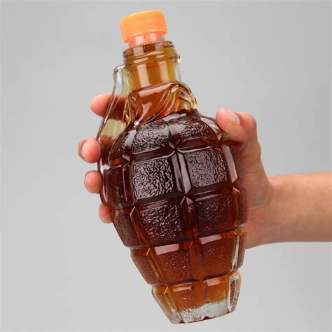 Unique Drink Bottle glass grenade decanter the green