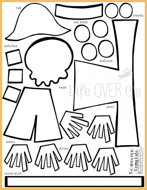 free printable scarecrow template cut and paste scarecrow craft for fall scarecrows