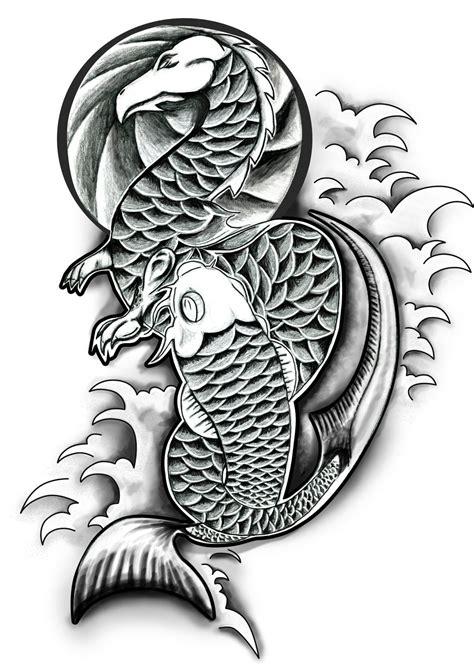 tattoo galleries dragon koi dragon and koi by danwhitedesigns on deviantart
