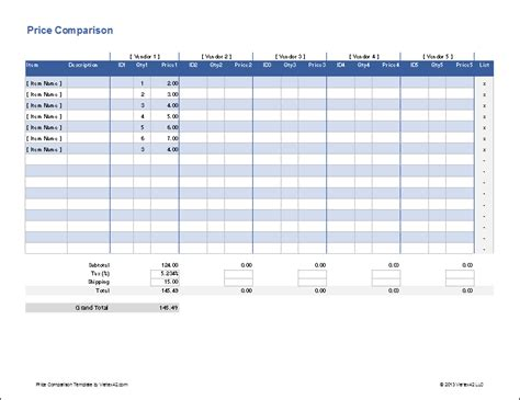 price comparison template free price comparison template for excel