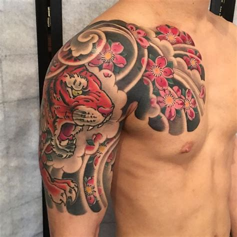 half chest piece tattoos japanese half sleeve tiger bardadim artist nyc