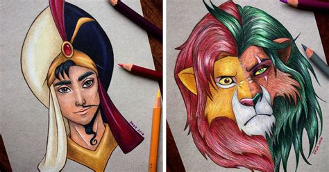 heroes and villians fan this artist merges disney heroes with villains bored panda