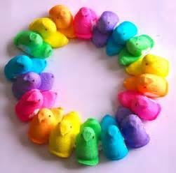 what are the easter colors rainbow wreath of easter peeps hens to