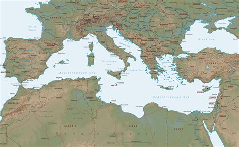 map of mediterranean area mediterranean sea map europe africa