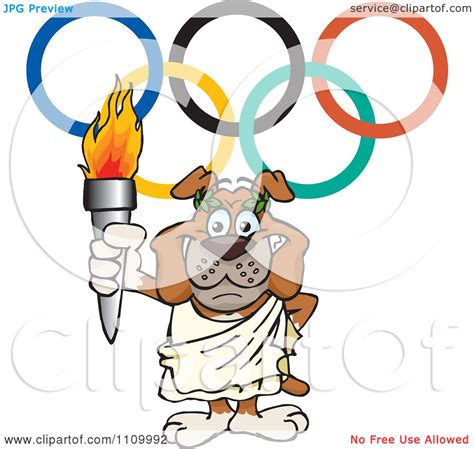Gamis Black White Dannis No 5 clipart olympic bulldog holding a torch rings