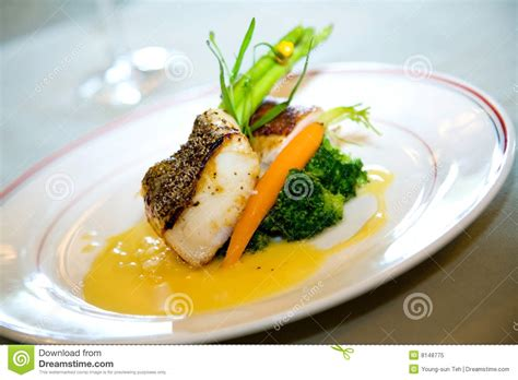 fish dinner course delicious course gourmet royalty free stock photo
