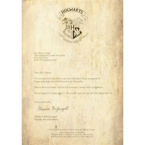 Hogwarts Acceptance Letter Real Pin By Darragh On And Tv