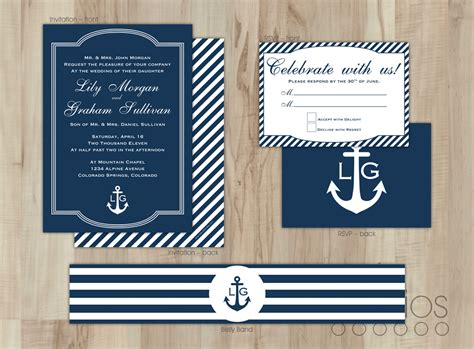 nautical wedding invitation template diy nautical wedding invitation suite by leslieestationery