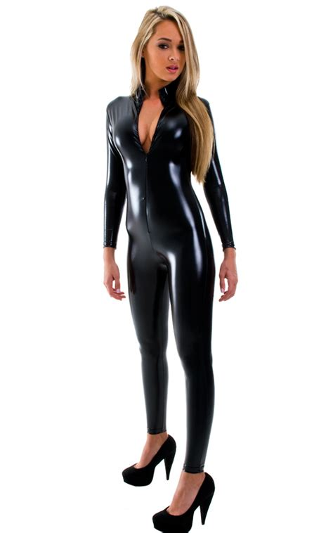 catsuits for women front zipper catsuit bodysuit for women in gloss black
