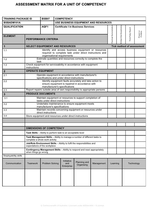 Assessment Matrix Skills Assessment Matrix Template