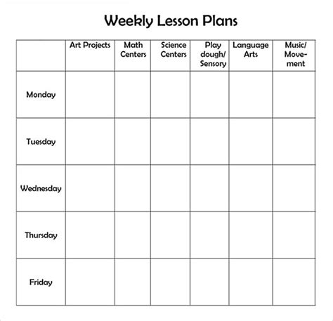 Lesson Plan Template Preschool Printable by Weekly Lesson Plan 8 Free For Word Excel Pdf