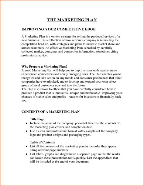 written plan template 8 marketing sle format project