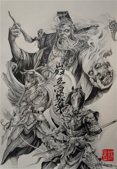Oriental God Tattoo | chinese mythical characters the king of hell and his two