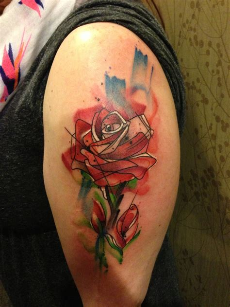 half open rose tattoo abstract on left half sleeve tattooshunt