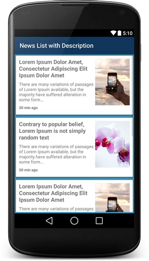 online design android xml news list xml ui design with image and shot description