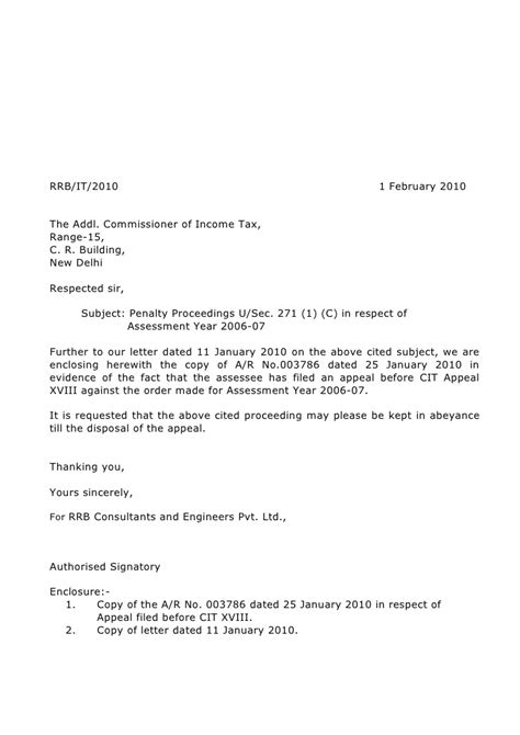 Appeal Letter Waive Penalty Rrb Income Tax Letters