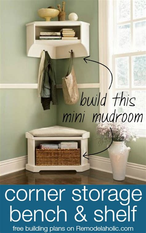 Build A Mini Mudroom Corner Bench And Shelf With Storage